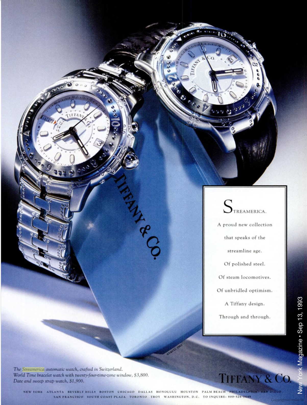 1993 advertisement from Tiffany & Co. Stainless steel World Time Automatic Watch and Automatic Chronometer with leather band. Tiffany & Co. Streamerica Stainless Steel Collection Advertisements Watch Ads New York Magazine September 13,1993 Prices Price Worth