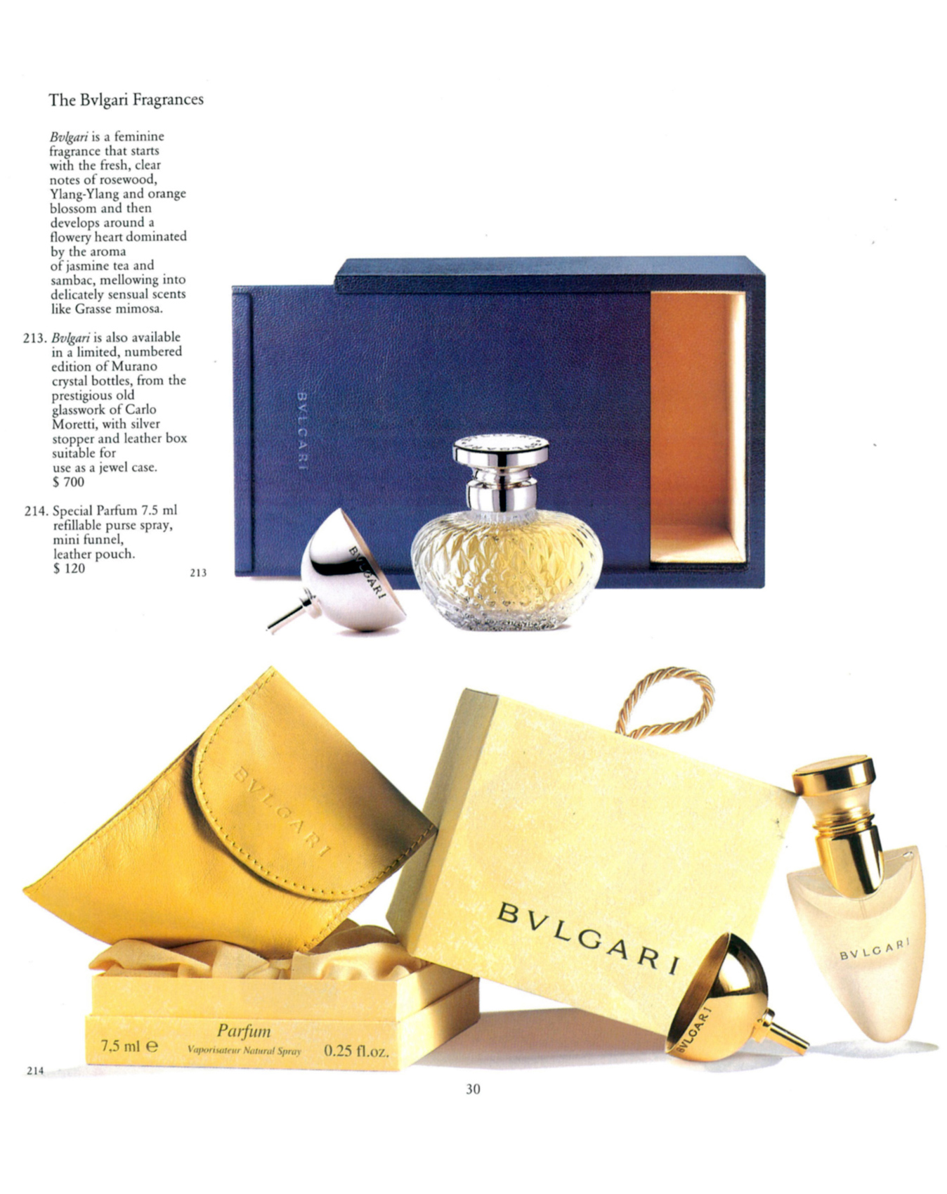Advertisement Ad Page Catalog Bvlgari Bulgari Murano Italy Crystal Perfume Bottle Carlo Moretti Sterling Silver Numbered Limited Edition Leather Box