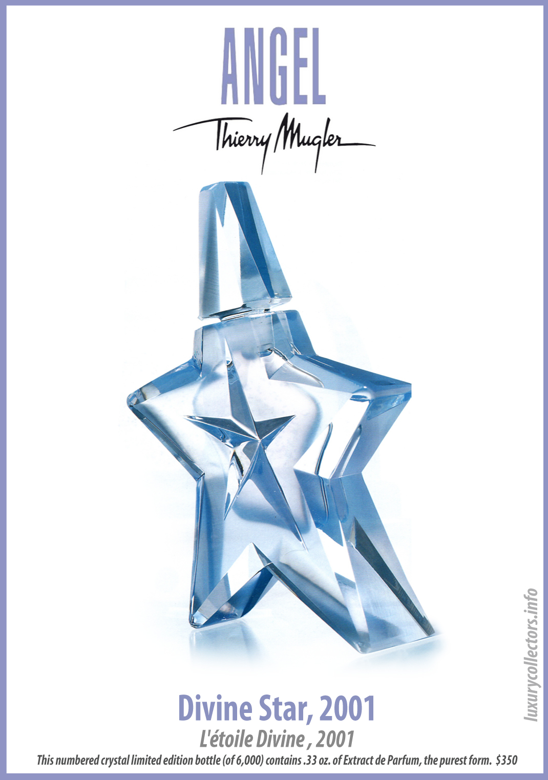 Thierry Mugler Angel Perfume Collector's Limited Edition Bottle 2001 Divine Star