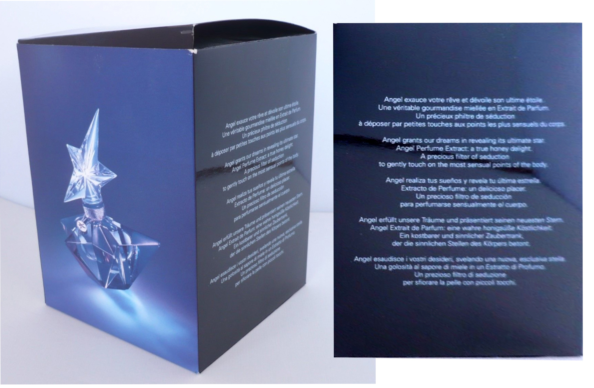 Outer Box Packaging Text Thierry Mugler Angel Perfume Caprice de Star Ultimate Star (Etoile), 2007.