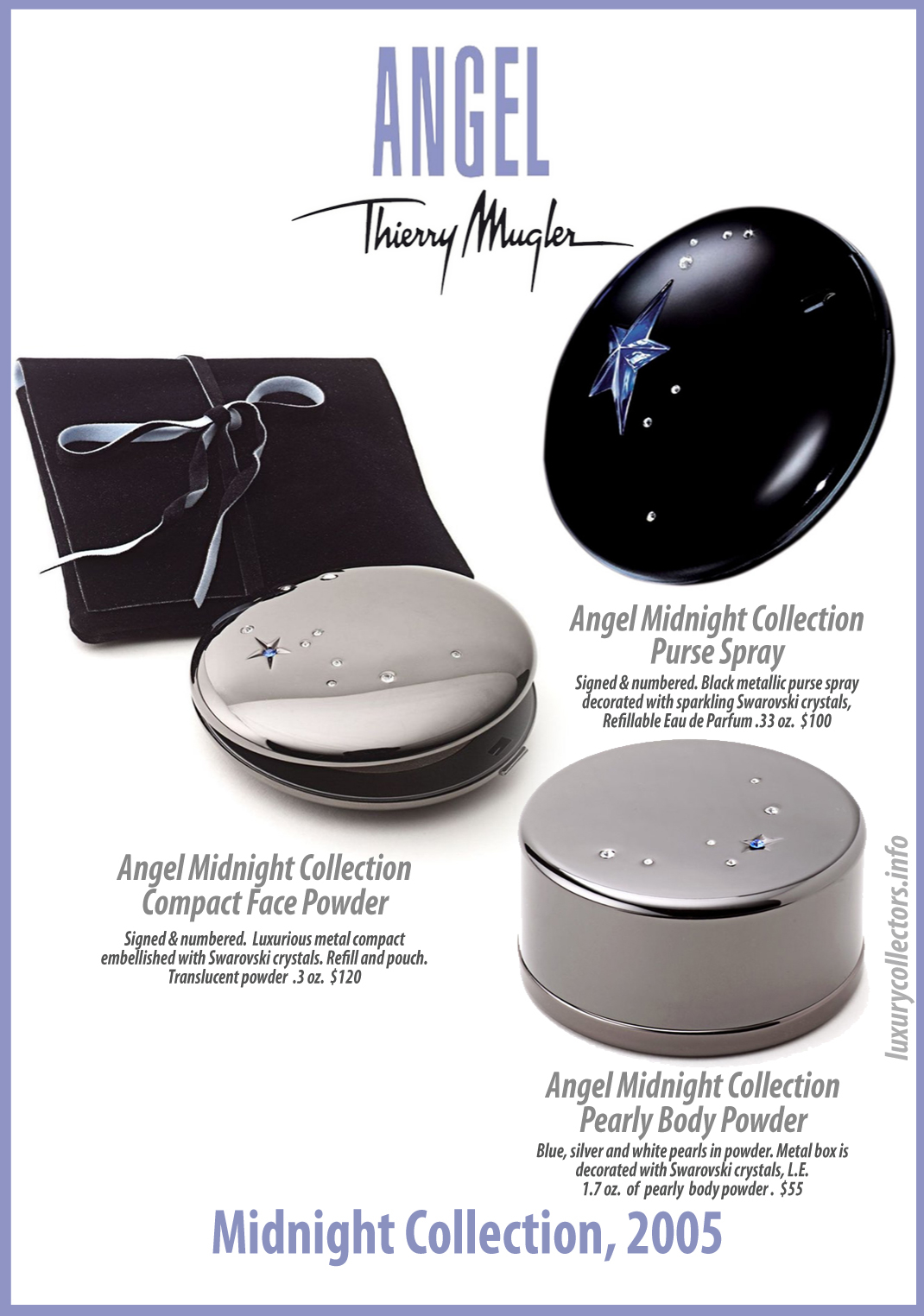 Thierry Mugler Angel Perfume Collector's Limited Edition Bottle 2005 Midnight Collection Trio