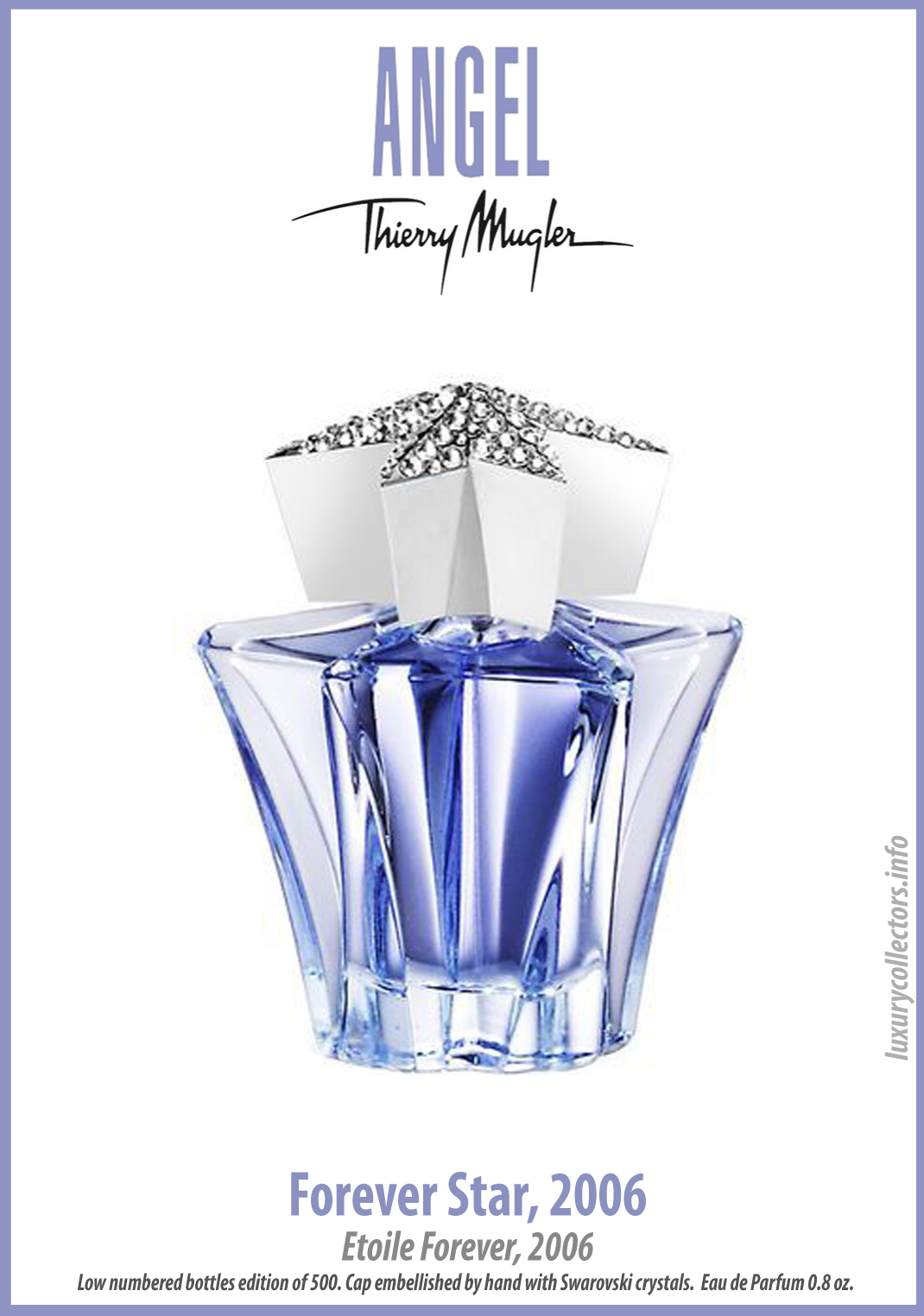 Thierry Mugler Angel Perfume Collector's Limited Edition Bottle 2006 Forever Star Swarovski Crystals Stopper