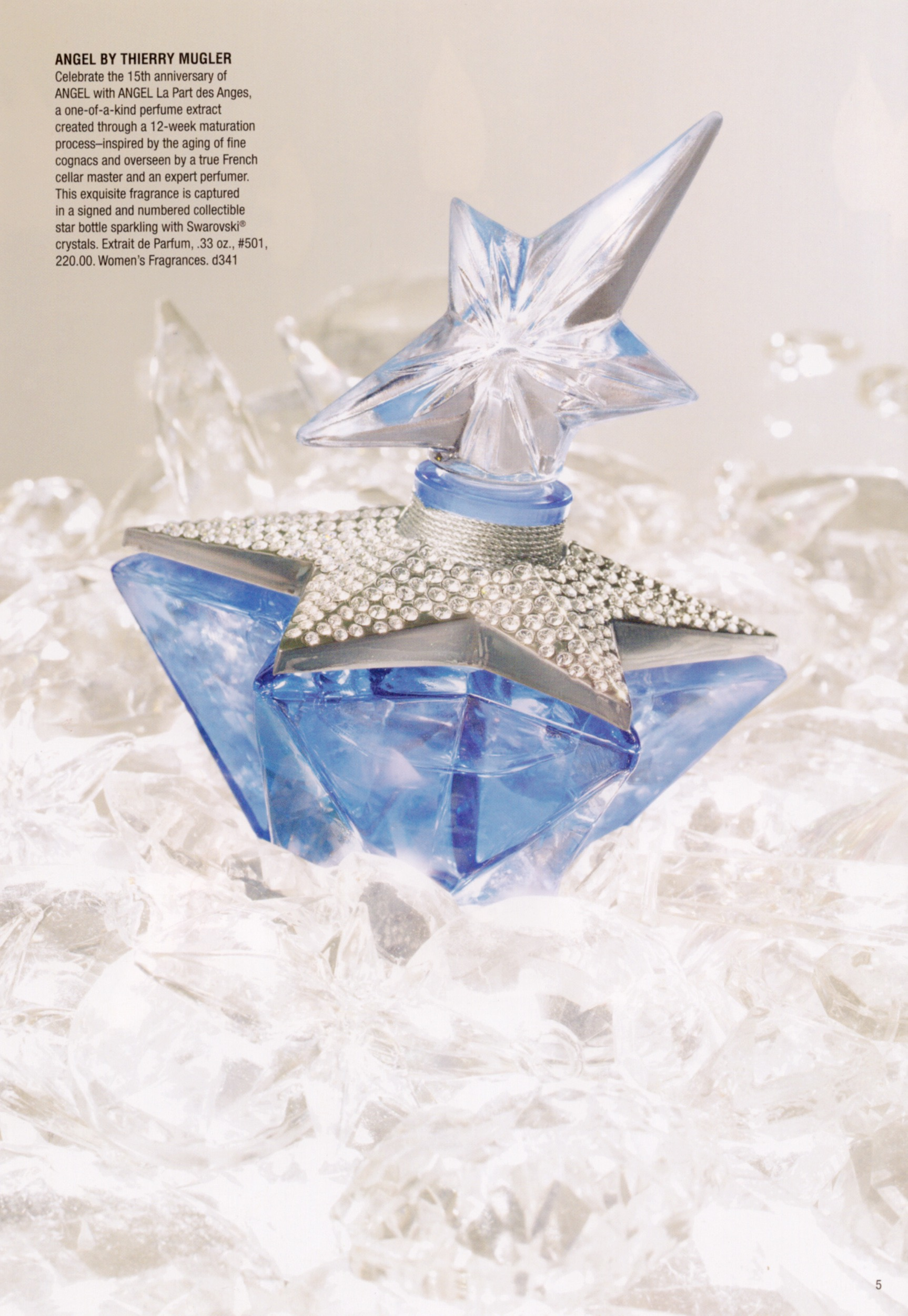 Thierry Mugler Angel Perfume La Part des Anges Angels Star (Etoile), 2007. Swarovski Crystals. Bottle Collecting Saks Fifth Avenue Catalog Price