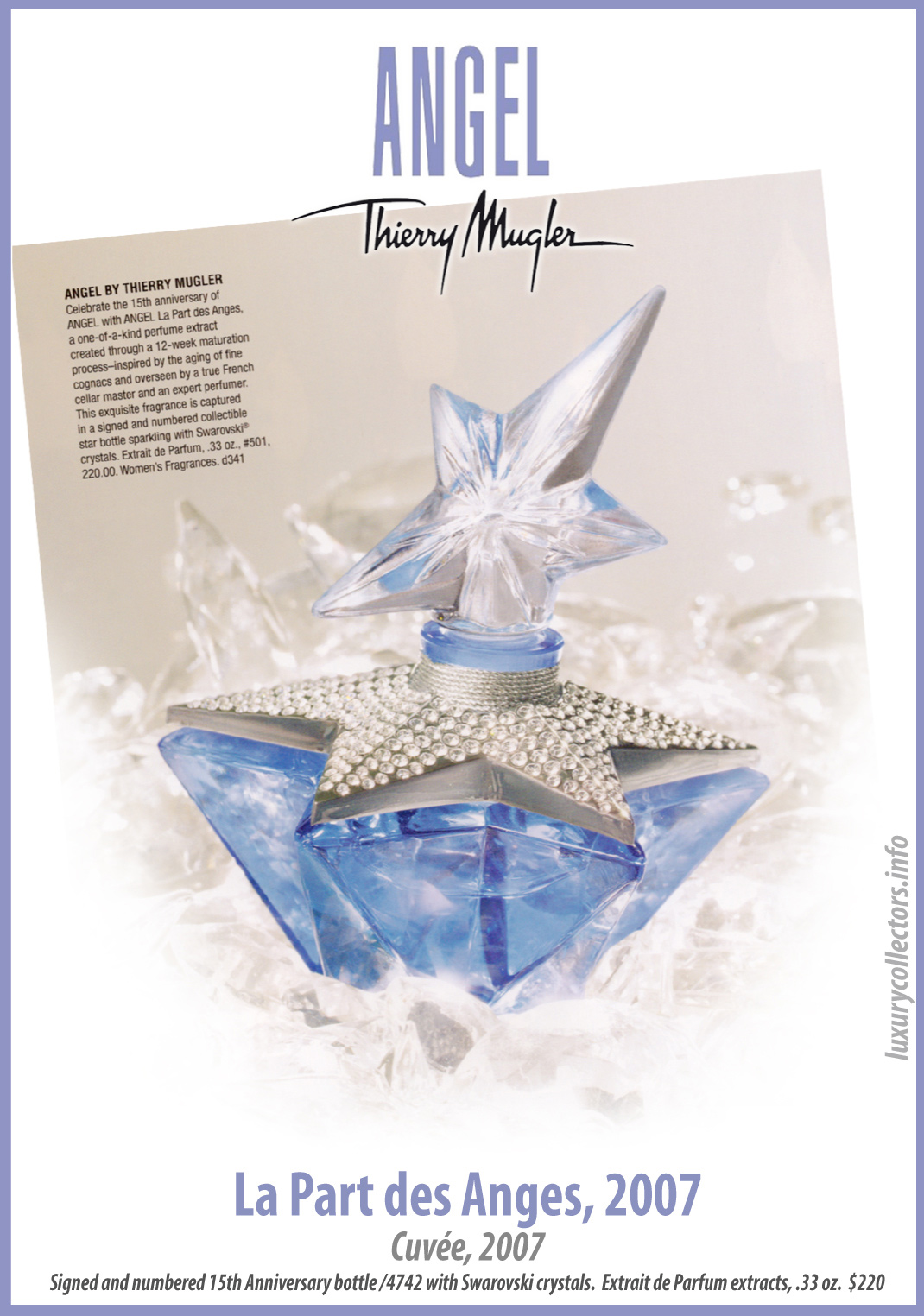 Thierry Mugler Angel Perfume La PArt des anges Angels (Etoile), 2007. Perfume Bottle Collecting 15th anniversary