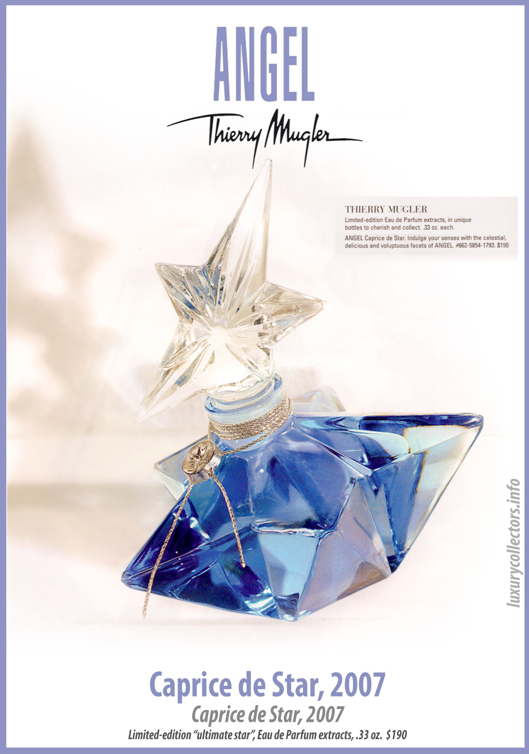 Thierry Mugler Angel Perfume Caprice de Star Ultimate Star (Etoile), 2007. Perfume Bottle Collecting