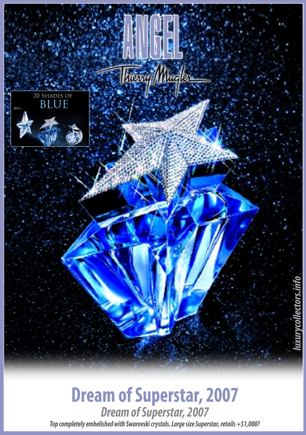 Thierry Mugler Angel 20 Years Perfume Collector's Limited Edition Bottle 2007 Superstar Deluxe Dream of Swarovski Factice Perfume Bottle Collecting 15th anniversary