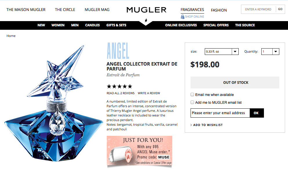 Thierry Mugler Angel 20 Years Perfume Collector's Limited Edition Bottle 2008 Superstar Deluxe Palace Collection Extrait de Parfum 2009 Online ad price Swarovski