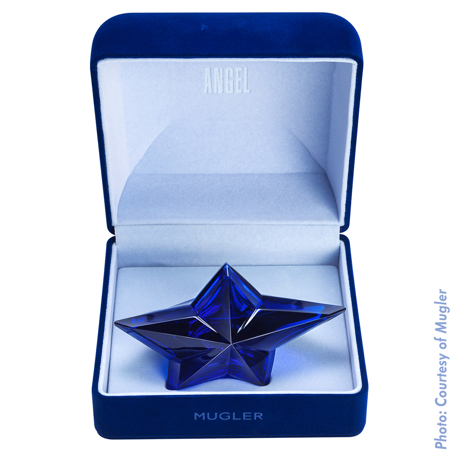Thierry Mugler Angel Perfume Collector's Limited Edition Bottle 2017 Deep Blue Sapphire Star Velvet Box Side Display
