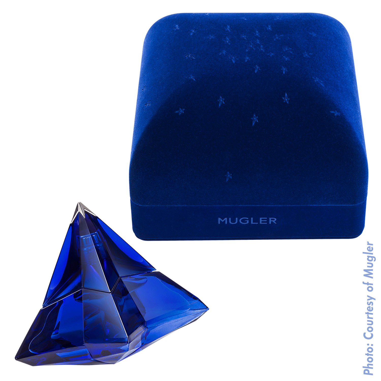 Thierry Mugler Angel Perfume Collector's Limited Edition Bottle 2017 Deep Blue Sapphire Star Velvet Box Closed Hinged Box Pyramid Gravity Star