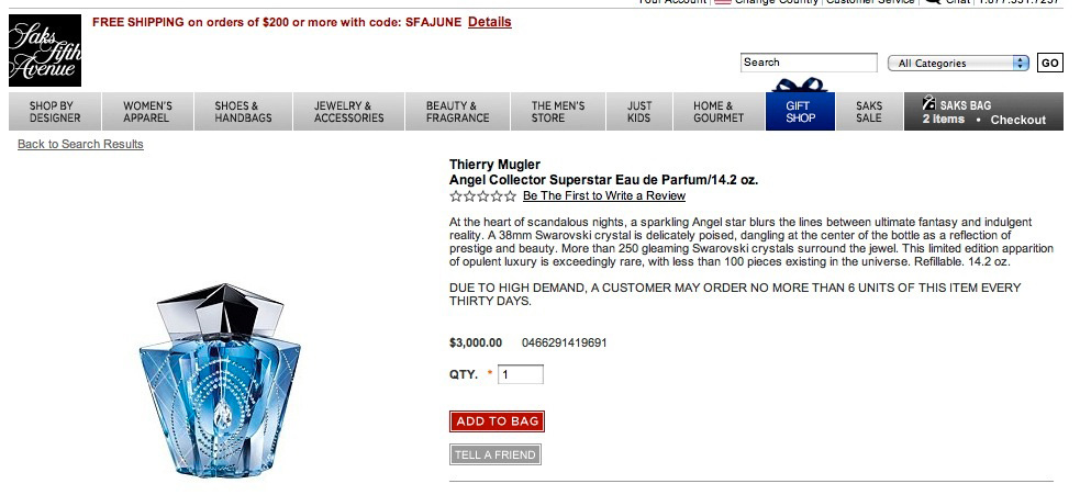 Saks Website advertisement Price Thierry Mugler Angel Perfume Collector's Limited Edition Bottle 2009 Swarovski Pendant Crystal Collector Superstar Palace Collection Box