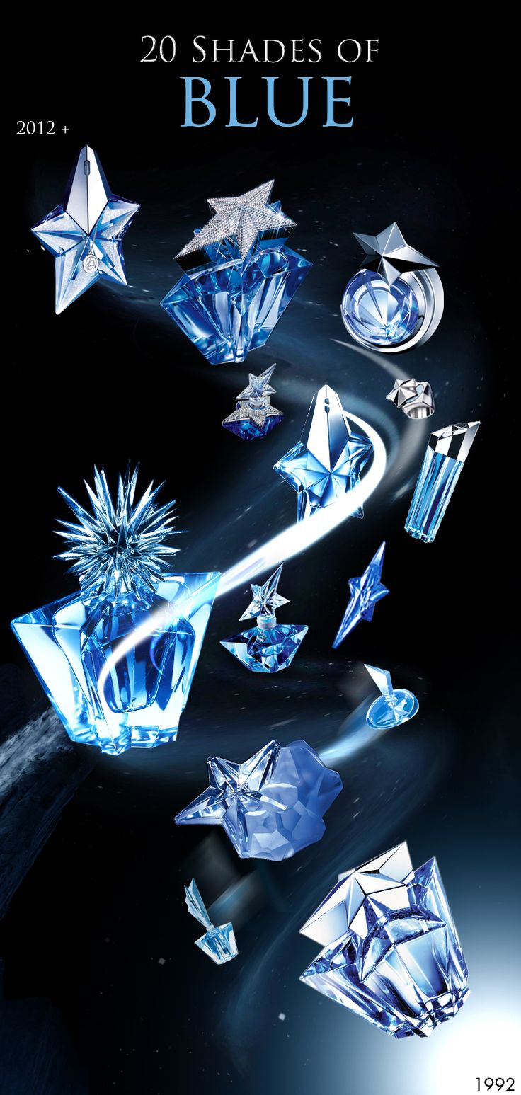 """20 Shades of Blue"" from 2012, celebrating 20 years of Thierry Mugler's Angel Perfume of 1992.  Showcasing 2012's Precious Star, 2007's Dream of Superstar, 2007's La Part des Anges, Eau de Toilette bottle, Standard Precious purse spray, Solid Perfume ring,  Rising Star bottle, 2004's Star Instinct, 2007's Caprice de Star, 1999's The Big Bang, 2002's A Star is Born, 2000's Winter Star, 1996's Glamorous Star, and finally a regular classic bottle at the bottom."