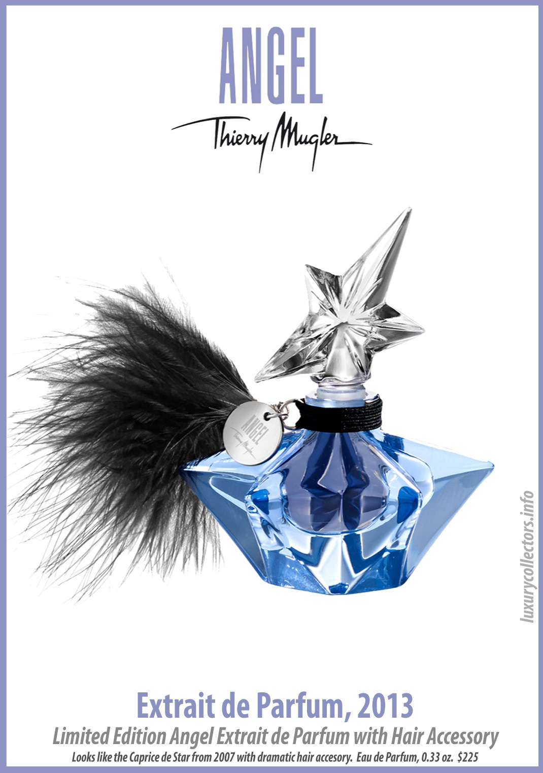 Thierry Mugler Angel Perfume Collector's Limited Edition Bottle 2013 Extrait de Parfum Hair Accesory