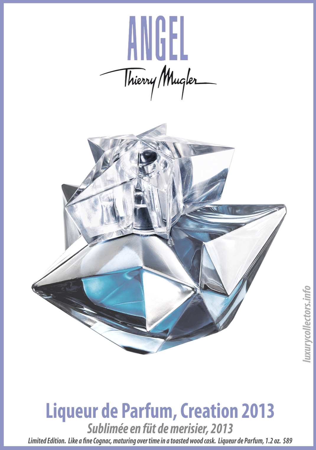 Thierry Mugler Angel Perfume Collector's Limited Edition Bottle Creation 2013 Liqueur de Parfum
