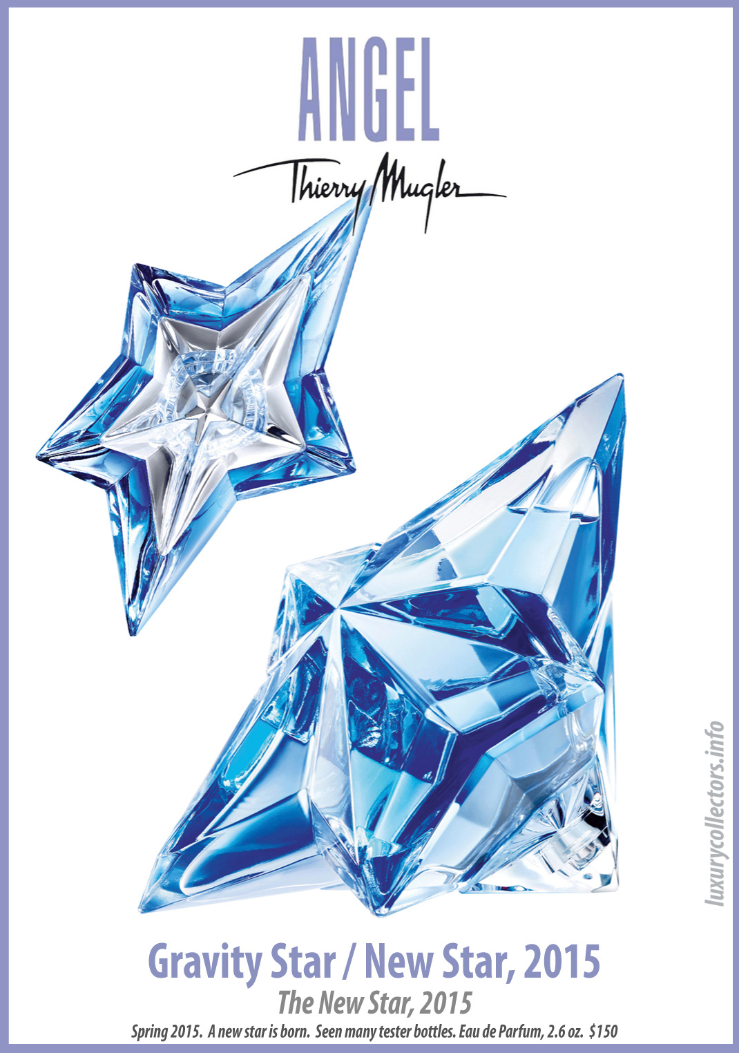 Thierry Mugler Angel Perfume Collector's Limited Edition Bottle 2015 Gravity Star / New