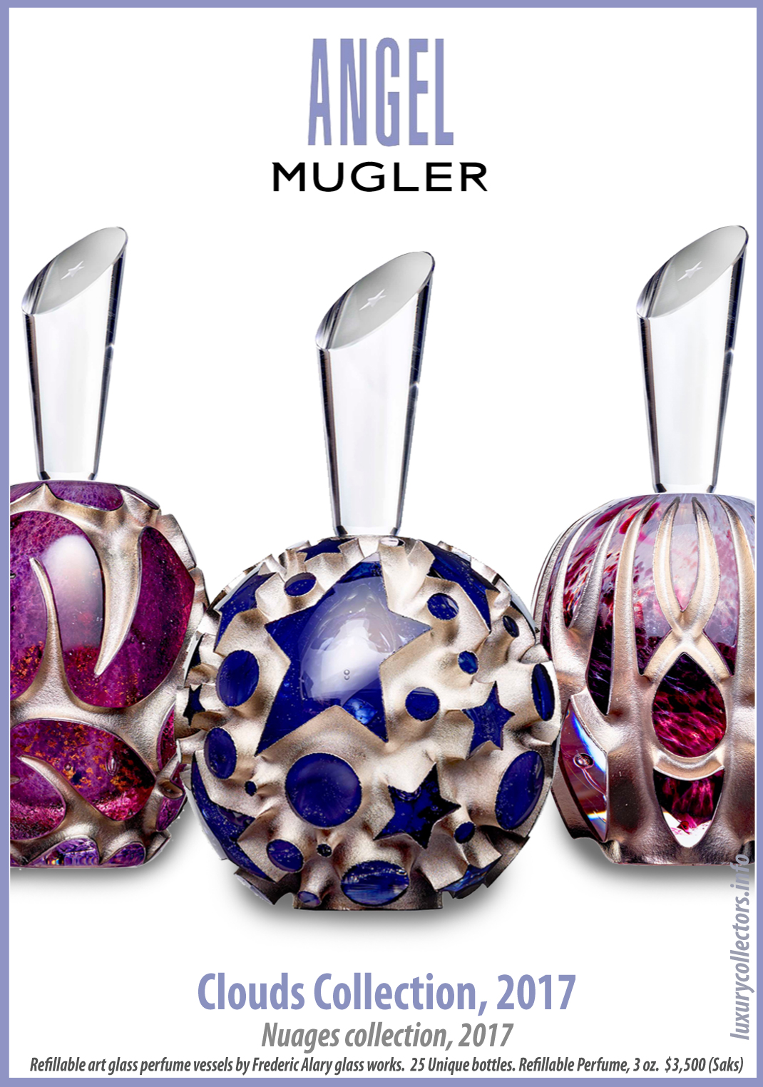 Thierry Mugler Angel Perfume Collector's Limited Edition Bottle 2017 Clouds Cloud Egg Eggs Nuages Unique Art Glass Mouthblown