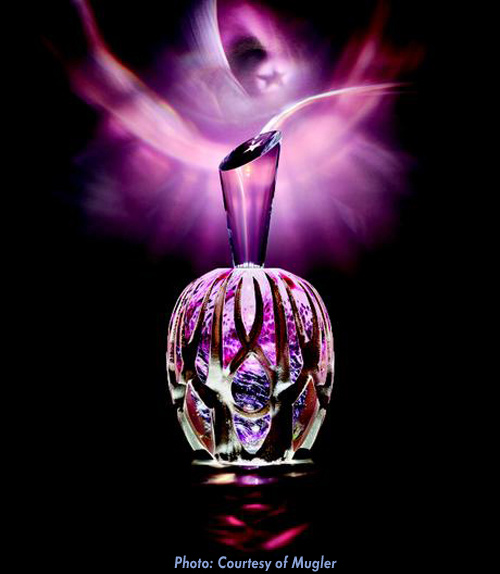 Thierry Mugler Angel Perfume Collector's Limited Edition Bottle 2018 2017 Clouds Cloud Egg Eggs Nuages Unique Art hand Glass Mouthblown Jean-Jacques Urcun Frederic Alary Advertisement Violet Purple Thorns Claws Silver