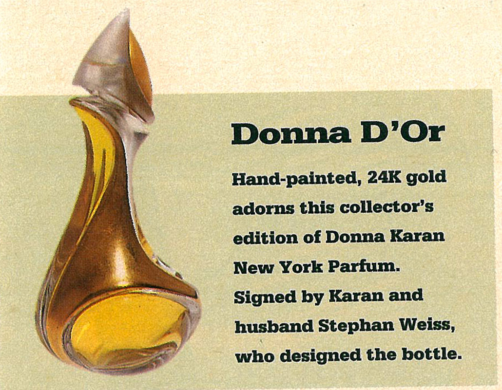 W Magazine Clipping Advertisement Donna Karan New York Parfum Limited Edition Perfume Bottle Gold Signed Stephan Weiss Numbered
