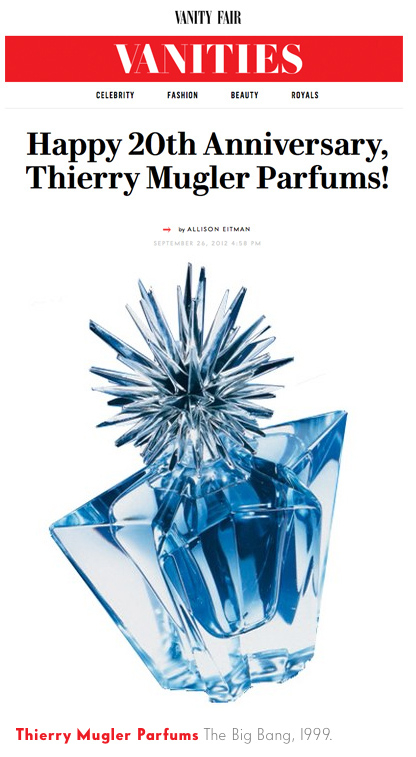 Scan of Mugler Brotchure promoting the Glamour Collection of Purse Spray and Star Etoile Bottle of 1998.