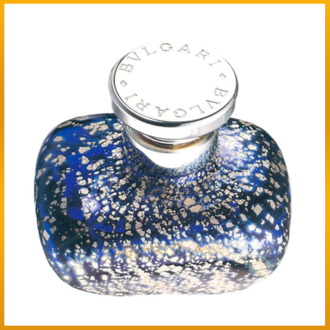 Bvlgari Bulgari Murano Italy Crystal Perfume Bottle Carlo Moretti Sterling Silver Numbered Limited Edition Blue Silver speckled