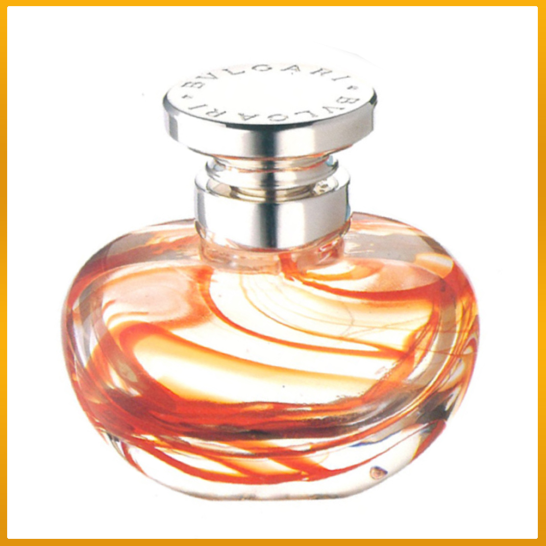 Bvlgari Bulgari Murano Italy Crystal Perfume Bottle Carlo Moretti Sterling Silver Numbered Limited Edition Orange swirl red