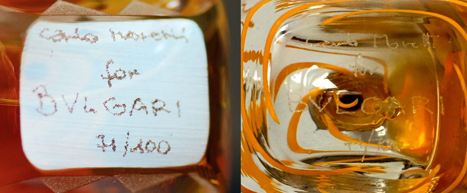Numbered Signed Etched Hand Bvlgari Bulgari Murano Italy Crystal Perfume Bottle Carlo Moretti Sterling Silver Limited Edition 100