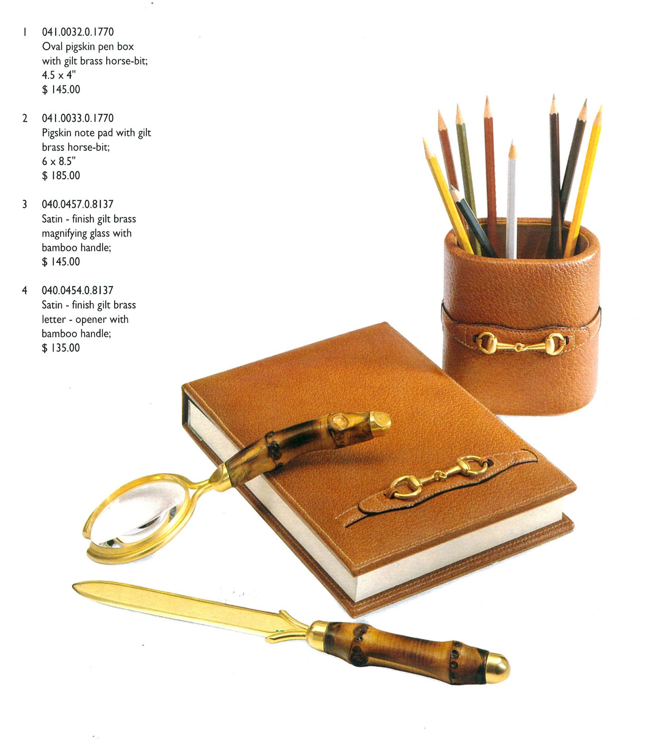 Gucci Housewares Desk Leather Accesories 1995 featuring Pigskin Pencup, Desk Pad, Magnifying Glass and Letter Opener with Bamboo Handle