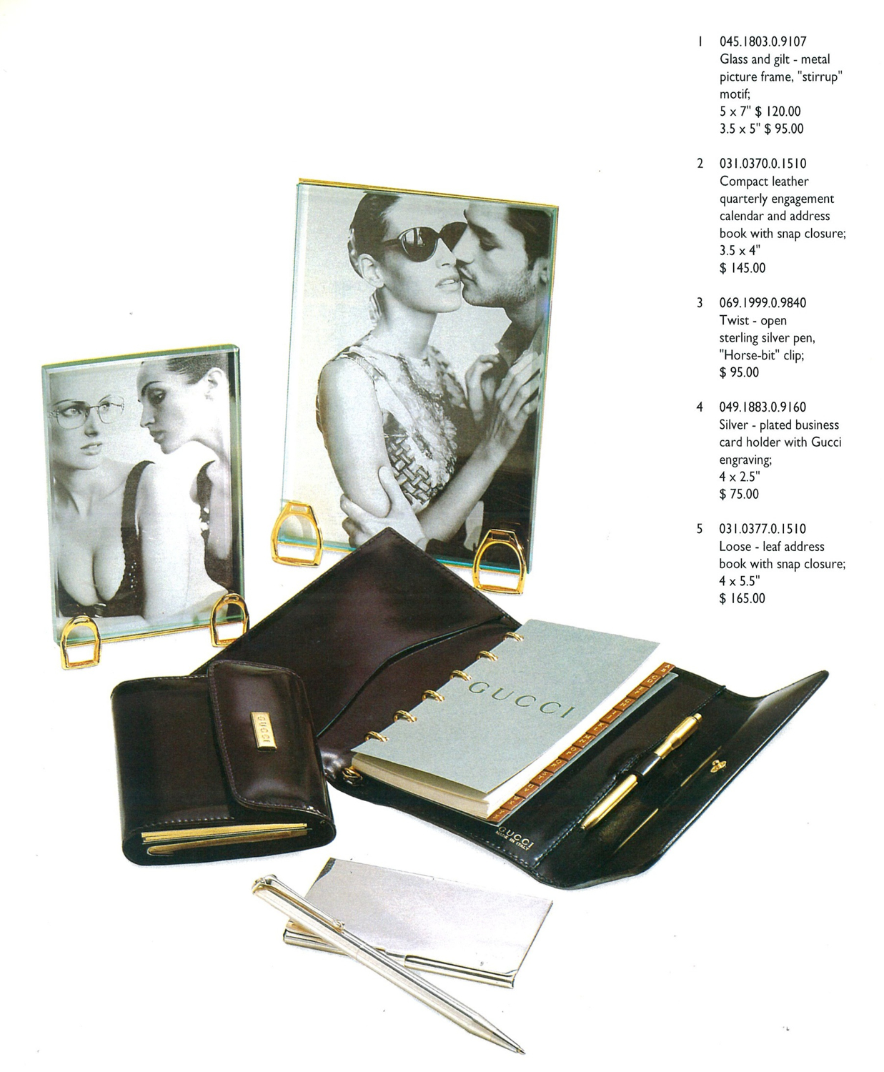 Gucci Desk Accesories 1995 Gilt Brass Stirrup Photo Picture Frames Sterling Silver Pen Buisiness Card Holder