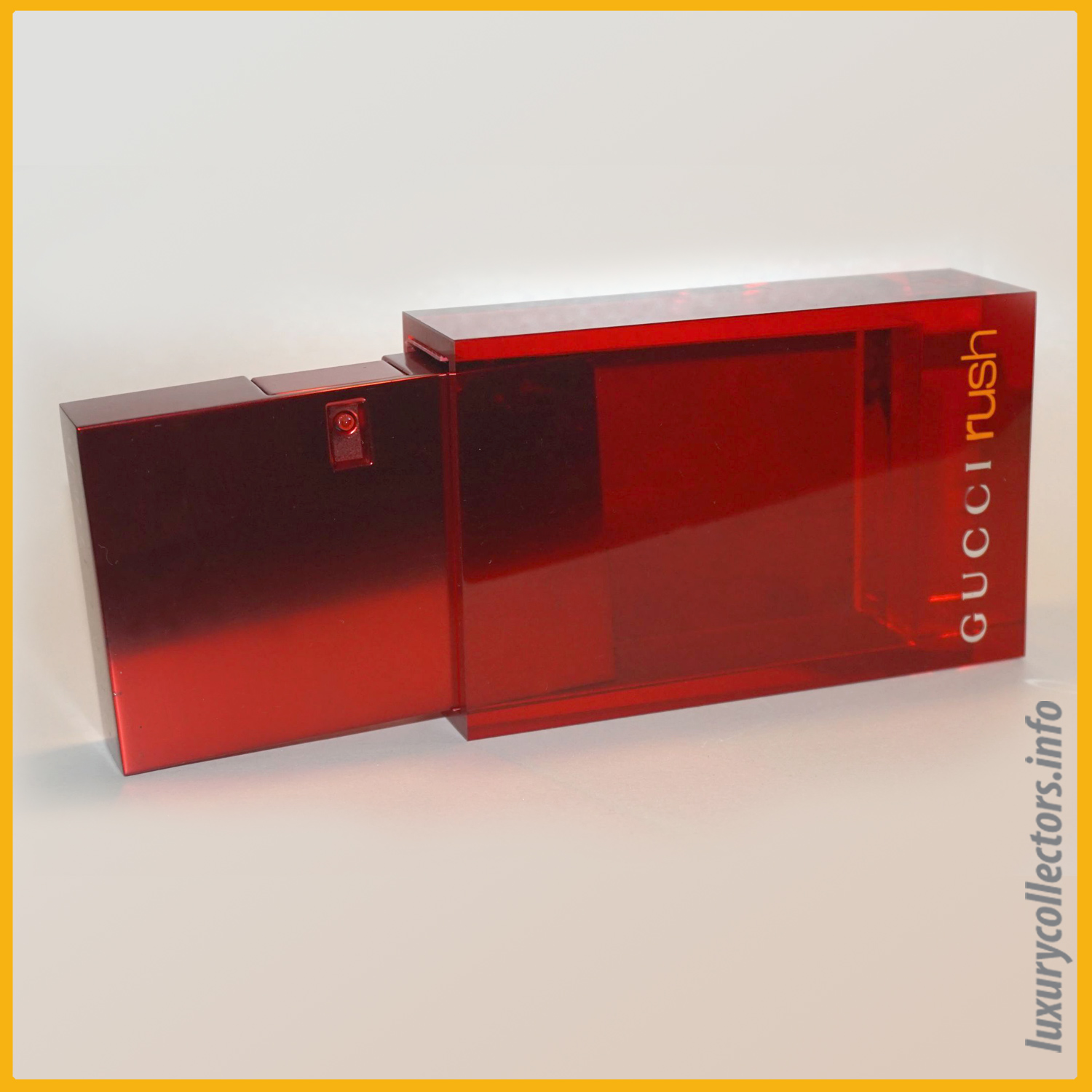 Gucci Tom Ford Italy Rush Perfume Bottle Limited Edition Millennium Parfum 1999 2000 Metal Container Acrylic Sleeve Slide Out