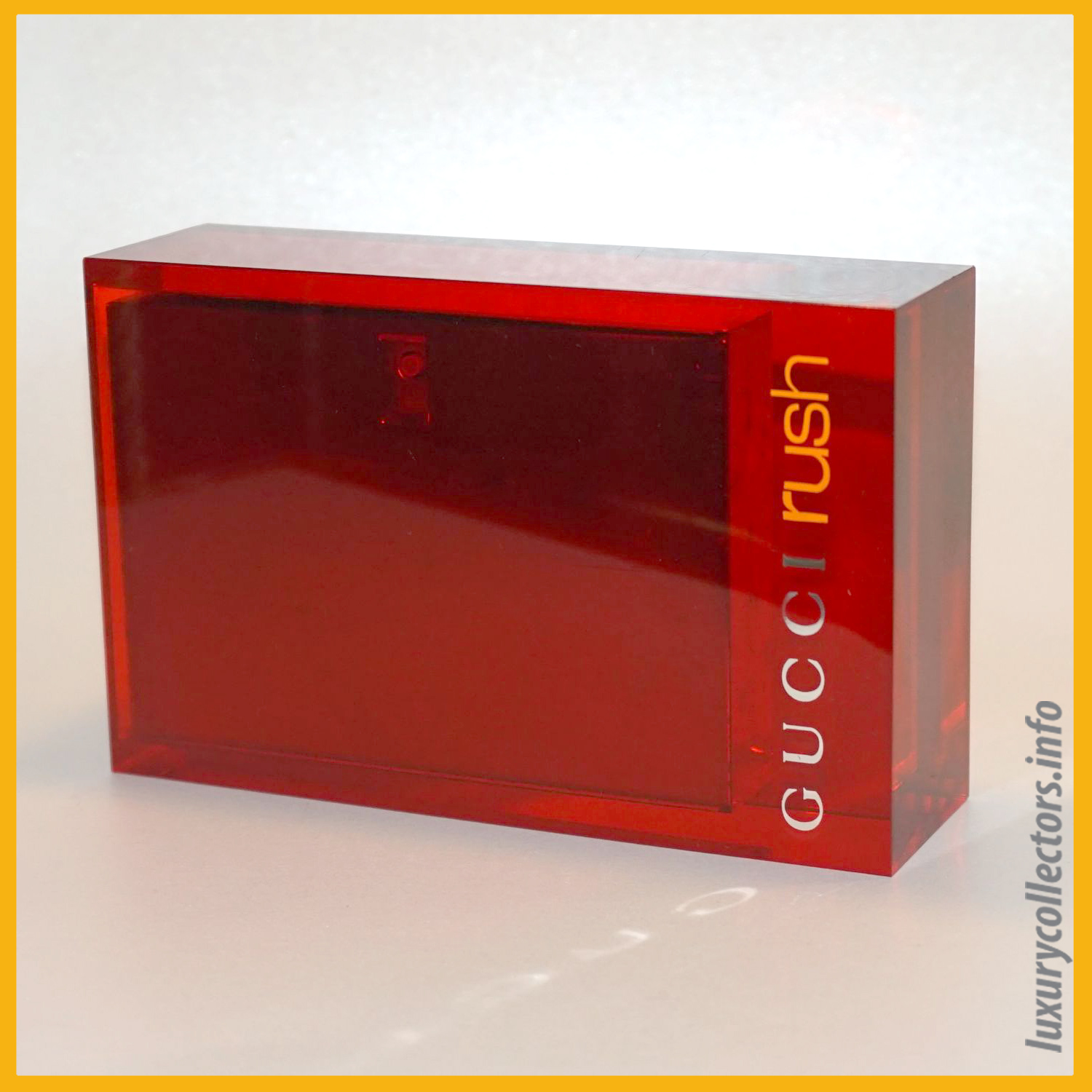 Gucci Tom Ford Italy Rush Perfume Bottle Limited Edition Millennium Parfum 1999 2000 Metal Container Acrylic Sleeve Closed Inside
