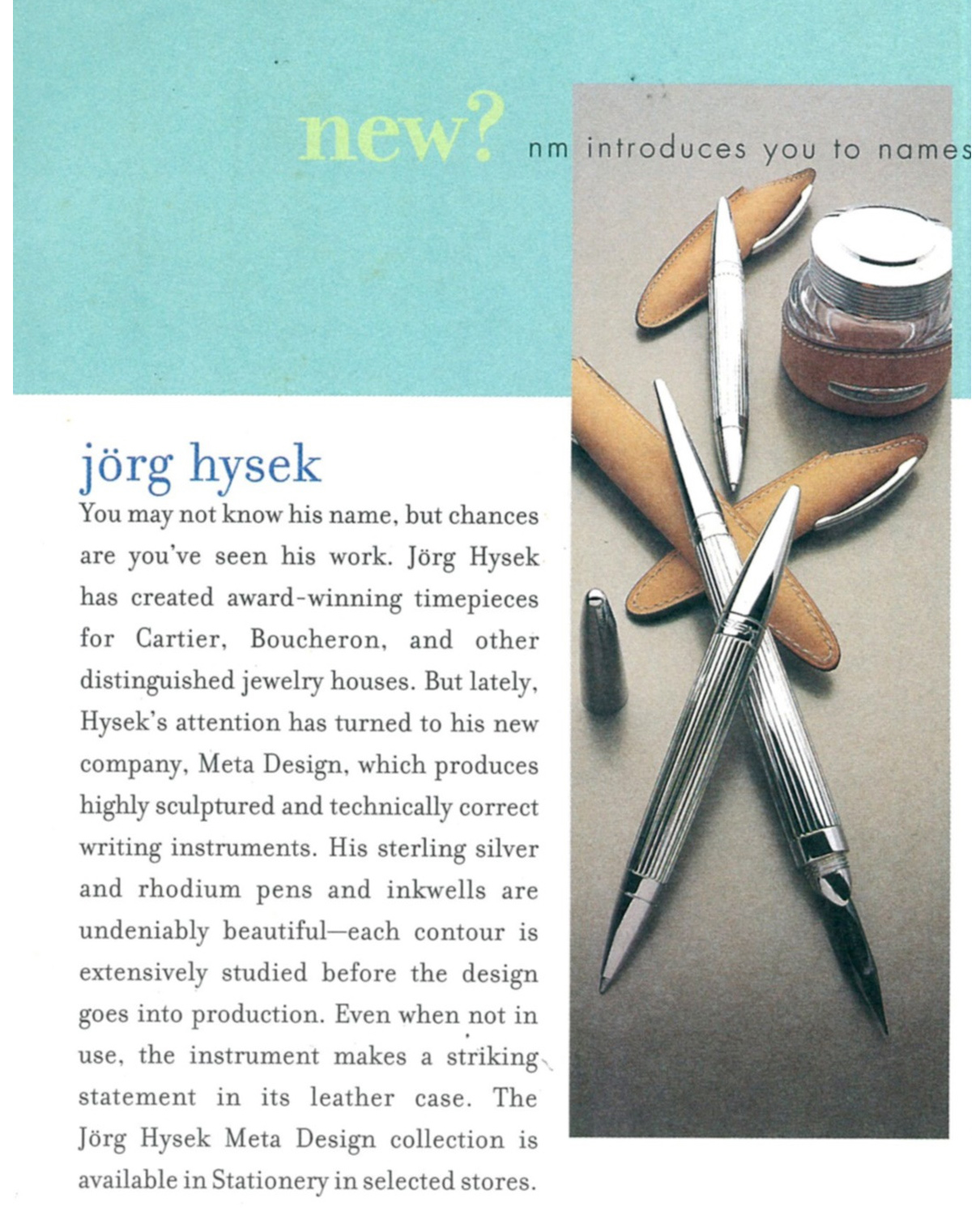 Jorg Hysek Designer Tiffany & Co. Streamerica Stainless Steel Collection Ad
