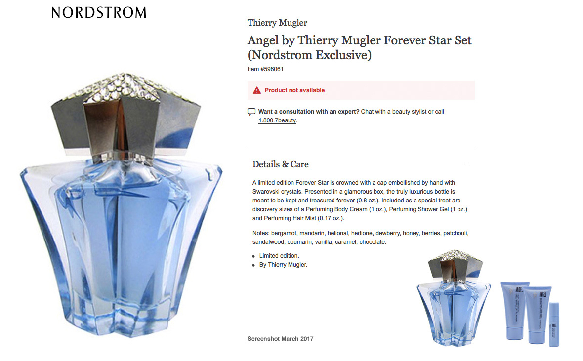Thierry Mugler Angel Perfume Collector's Limited Edition Bottle 2006 Forever Star Nordstrom Gift Set