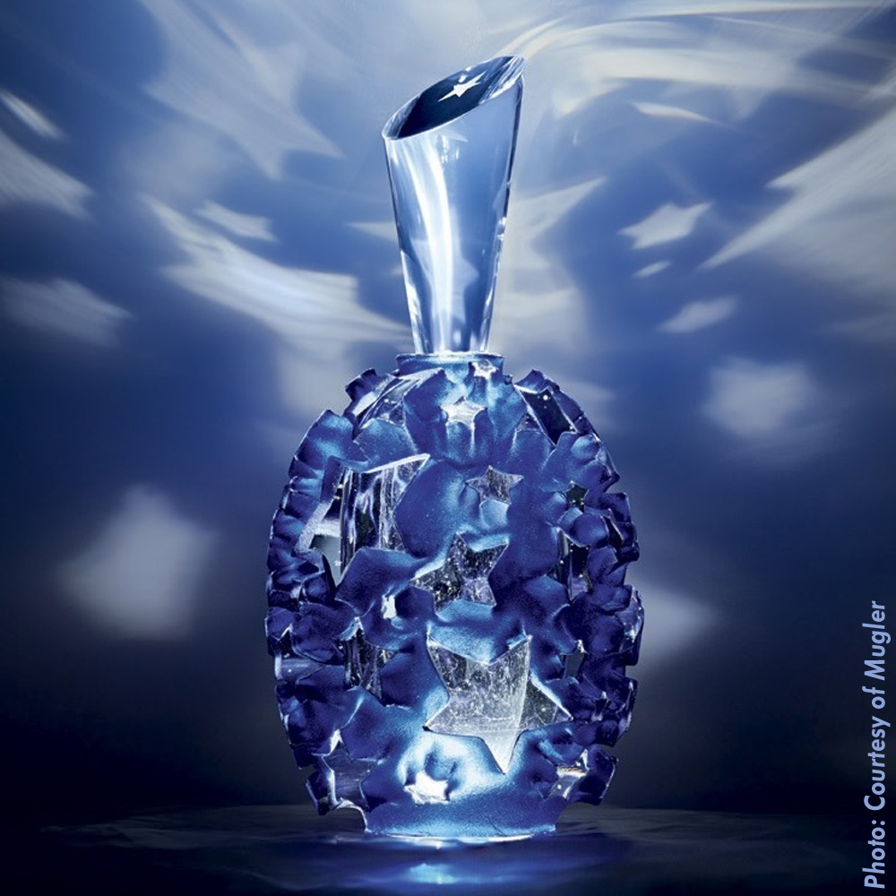 Thierry Mugler Angel Perfume Collector's Limited Edition Bottle 2018 2017 Clouds Cloud Egg Eggs Nuages Unique Art hand Glass Mouthblown Jean-Jacques Urcun Frederic Alary Advertisement Blue Stars Egg Silver