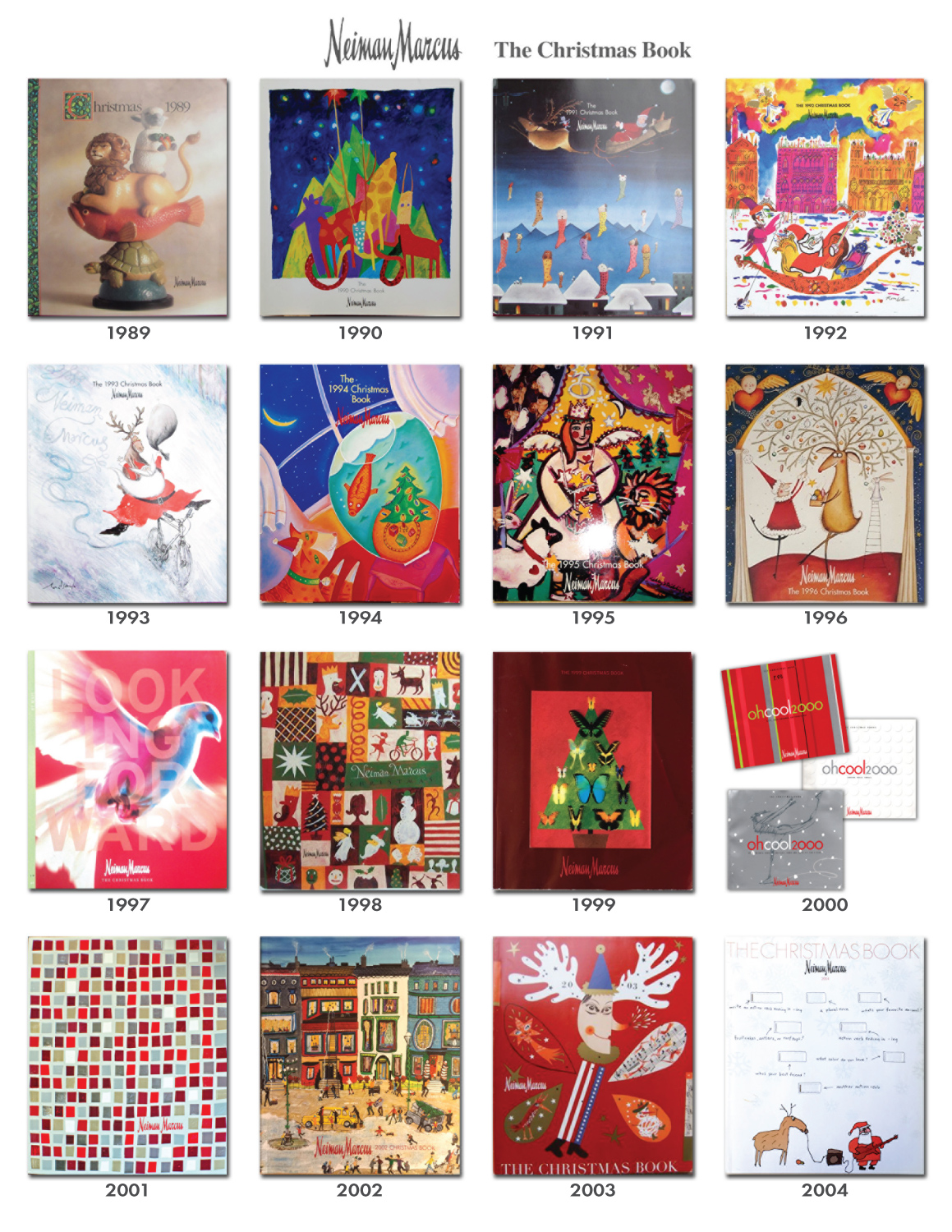Reference Guide Collection of NM Neiman Marcus Holiday Christmas Book Catalog Covers 1989 2004
