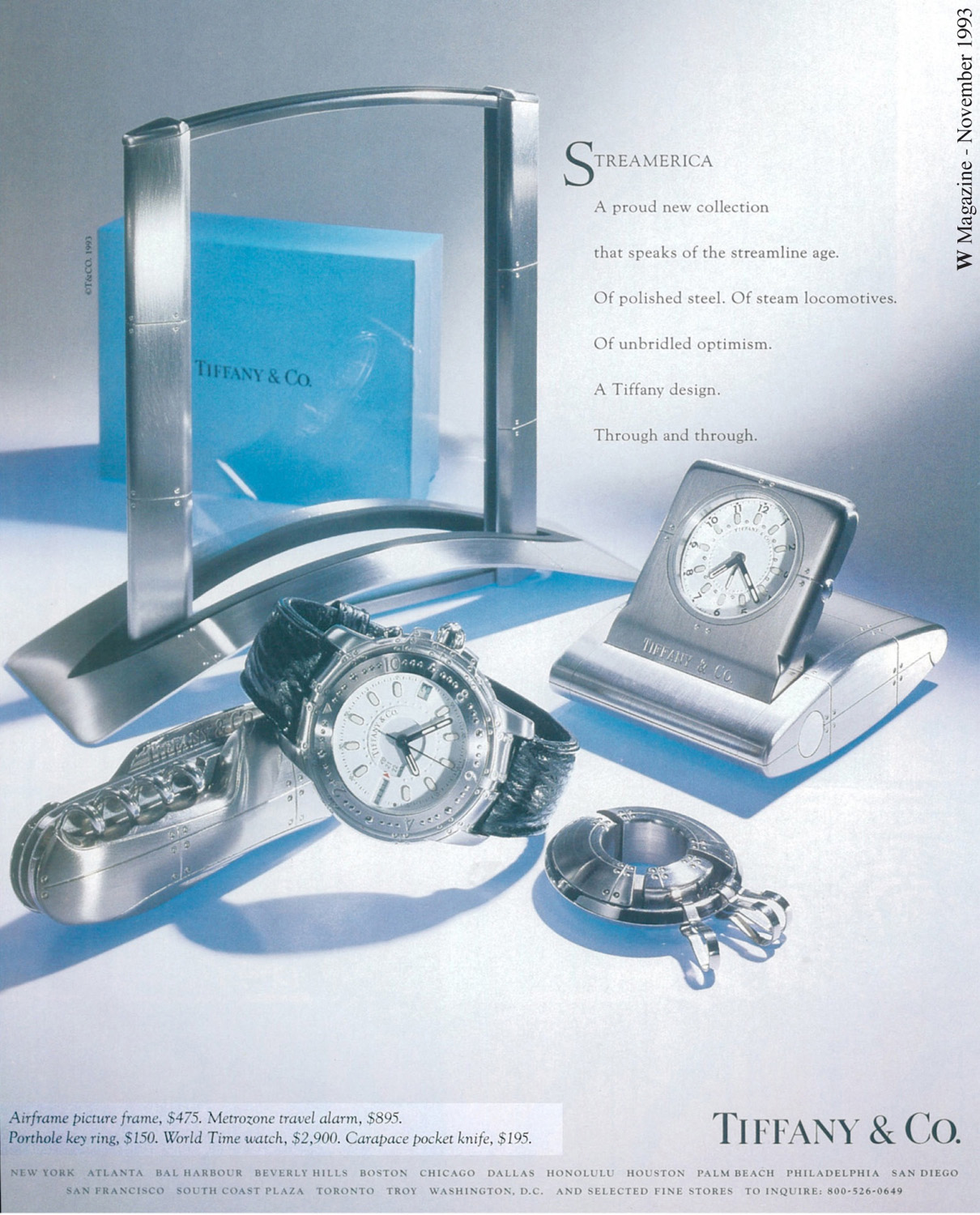 W Magazine Advertisement - Nov 1993 debut of the Streamerica Collection by Tiffany & Co. Airframe Large Picture Frame, Carapace Pocket Knife, World time Watch, Metrozone Travel Alarm, and Porthole Key Ring.