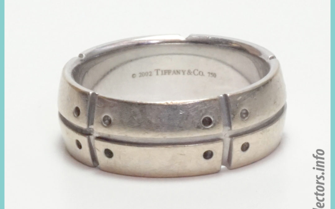 Tiffany & Co. Streamerica 18K White Gold Mens Wedding Band Ring