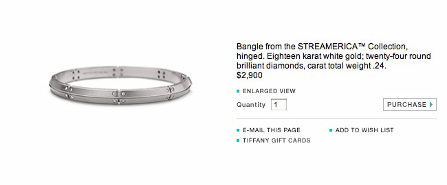 Tiffany & Co. Streamerica 18K White Gold Collection Diamonds 2000 2002 Website catalog price Bangle Bracelet screenshot