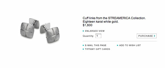 Tiffany and & Co. Streamerica 18K .750 White Gold Mens Wedding Cufflinks Collection 2000 2002 Website Price