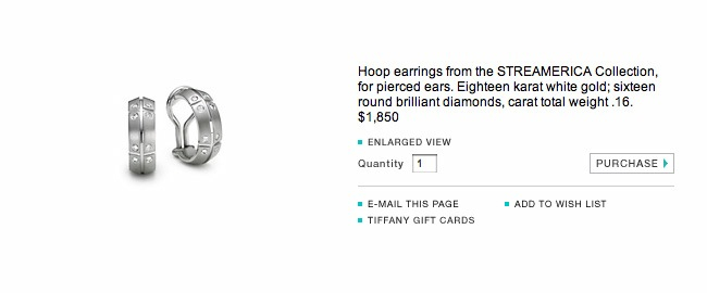 Tiffany & and Co. Streamerica 18k 750 White Gold Hoop Earrings Diamonds 2000 Wedding AD Website screenshot snapshot prices