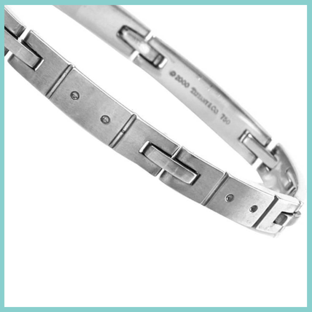Tiffany and & Co. Streamerica 18K .750 White Gold Mens Wedding Link Bracelet Collection 2000 2002 stamped detail inside