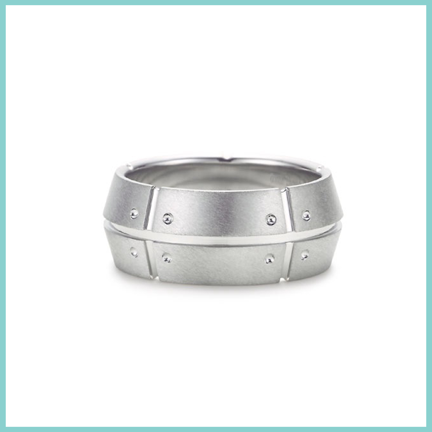 Tiffany and & Co. Streamerica 18k 750 Mens White Gold Double Ring rivets 2002 Wedding Band 2002 Standing