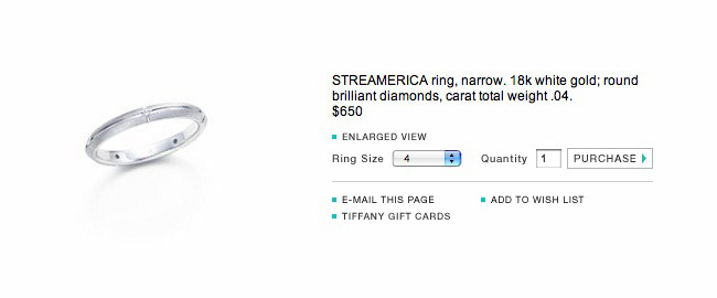 Catalog Website Price Tiffany & and Co. Streamerica 18k 750 White Gold single Ring Diamonds 2000 Wedding Band