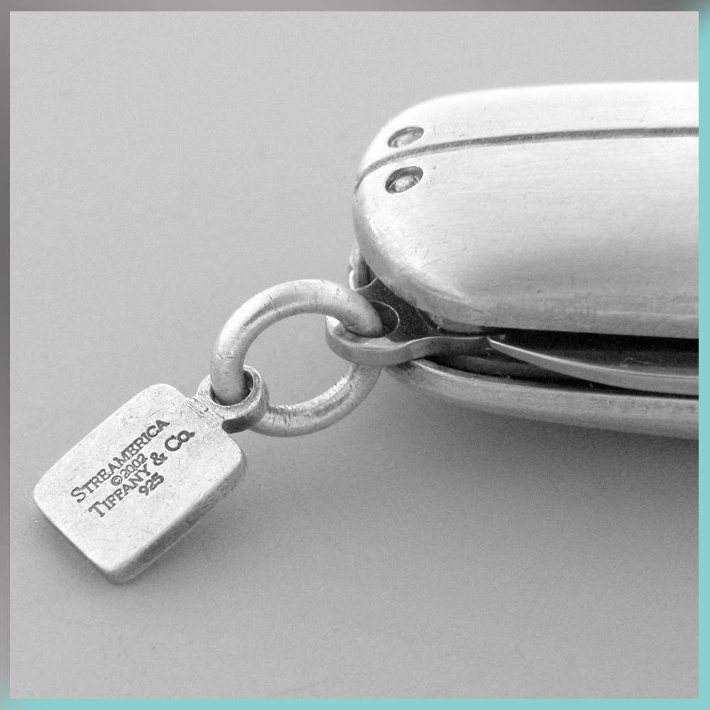 Victorinox Swiss Pocket Knife blade logo charm Tiffany & and Co. Streamerica Sterling Silver Collection 2002 .925 Detail Engraving