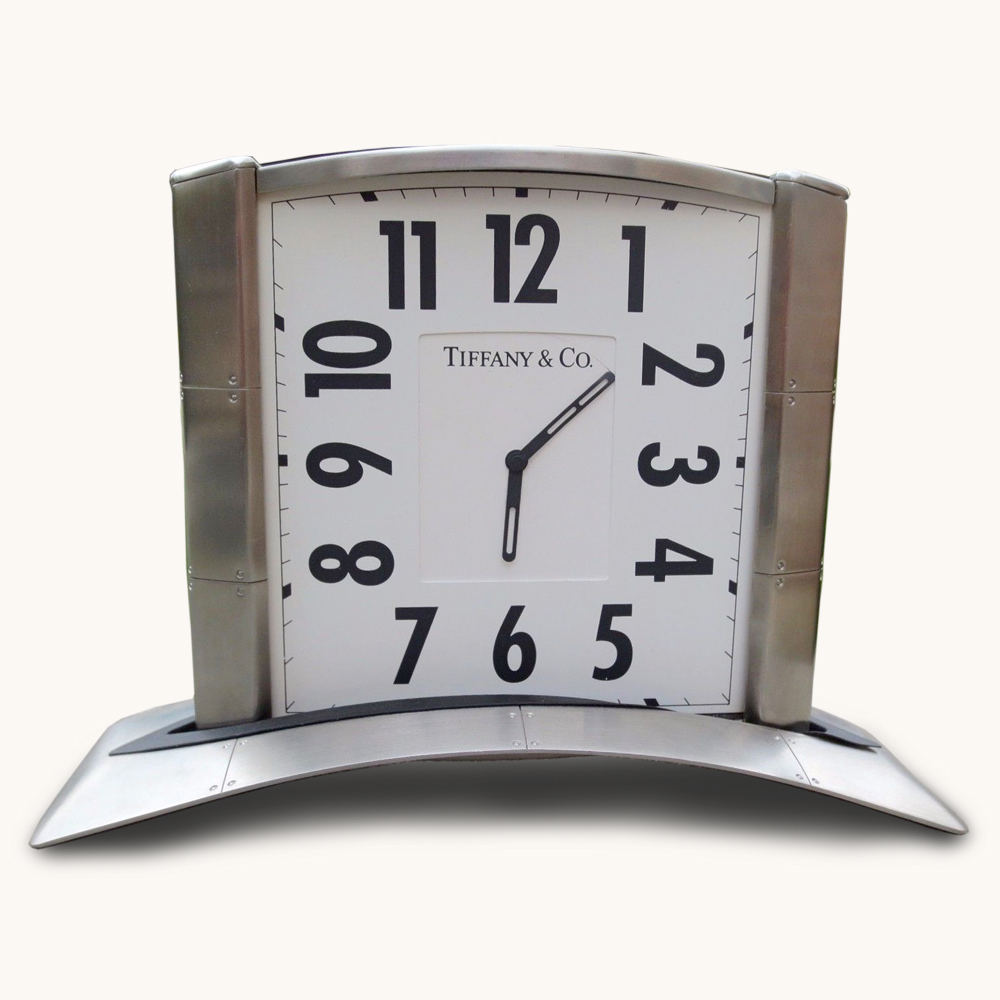 Tiffany & and Co. Streamerica Stainless Steel Airframe Rare Desk Clock Home Office Collection