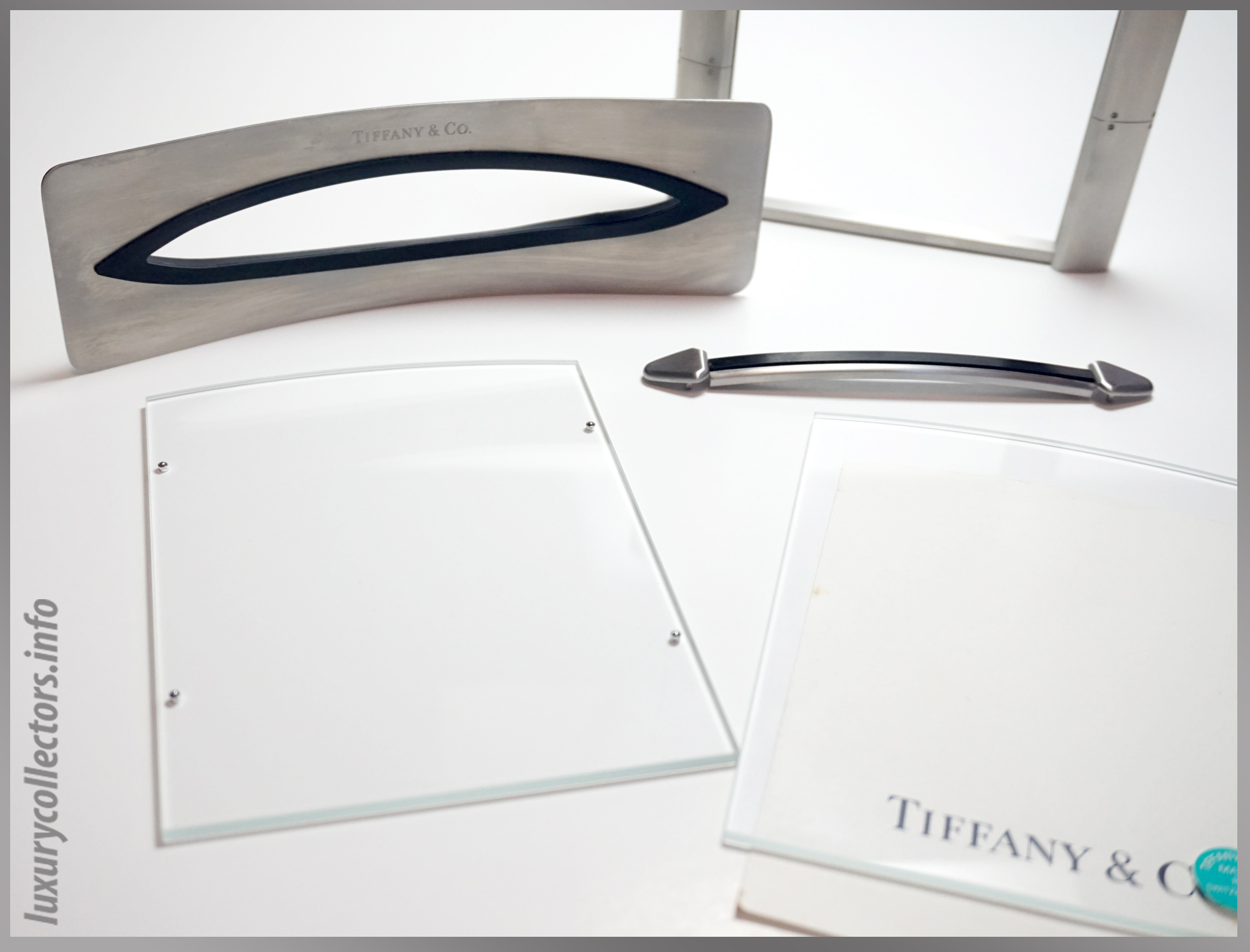 Tiffany & and Co. Streamerica Stainless Steel Airframe Picture Photo Frame Large Swiss Made in Switzerland Detailed logo glass panels