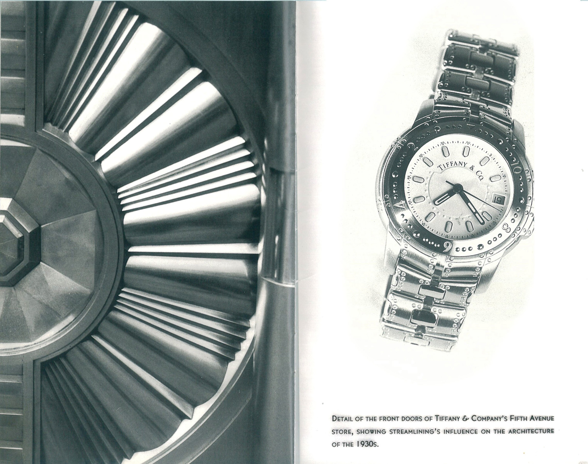1993 Blue Catalog by Tiffany & Co. Streamerica Automatic Chronometer in all Stainless Steel band and white face.
