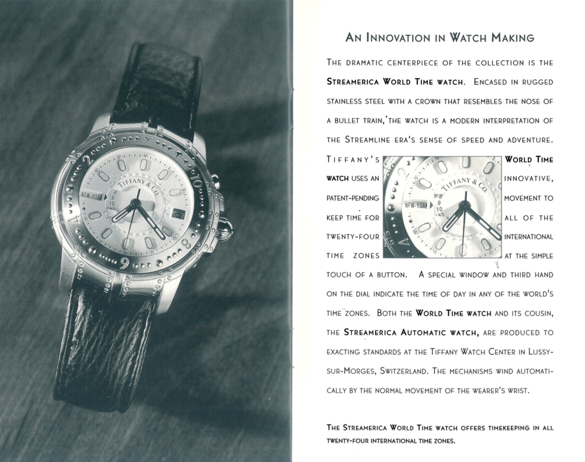 1993 Streamerica Blue Catalog by Tiffany & Co. World Time Watch movement details
