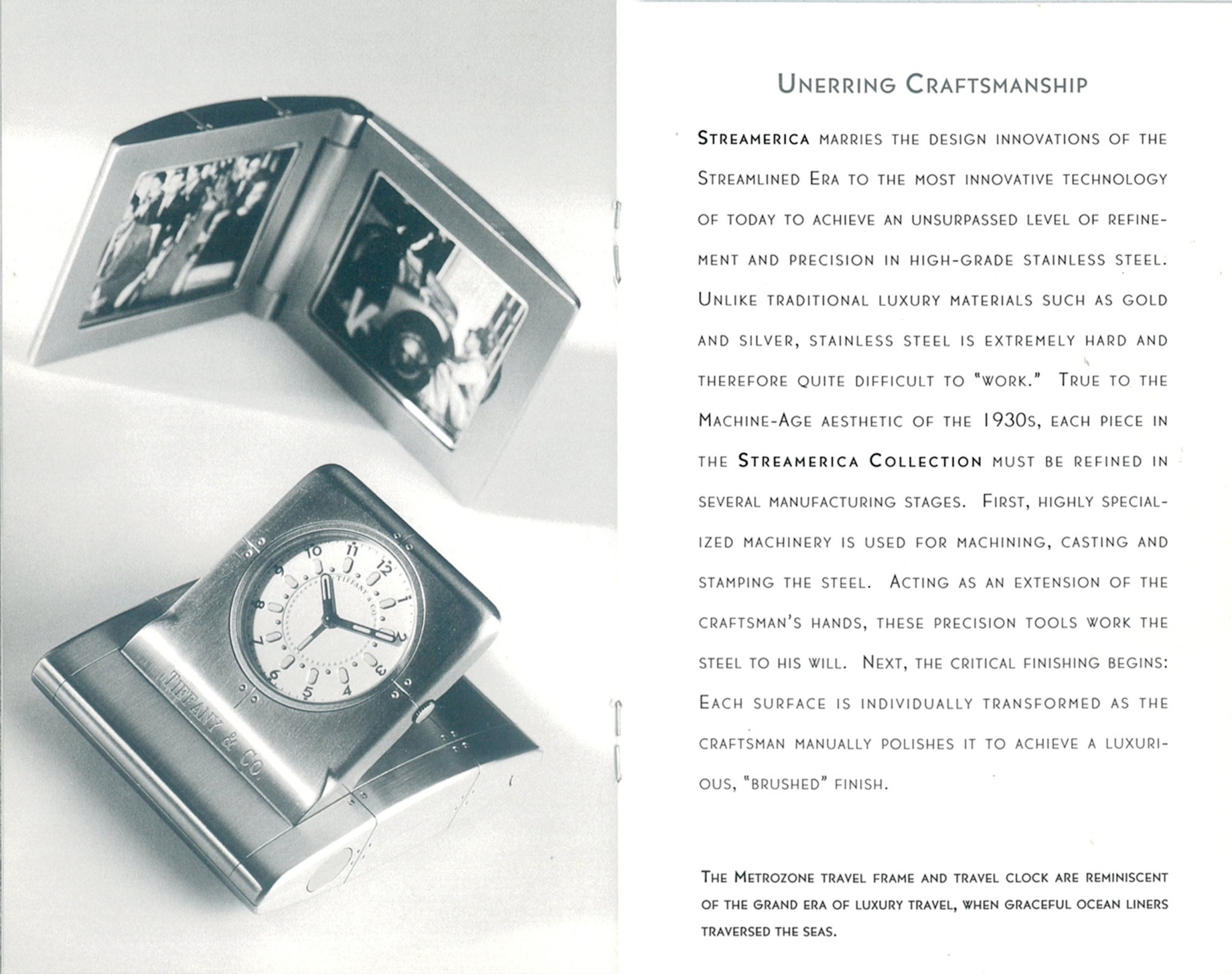 Streamerica Tiffany & and Co. Metrozone Travel Frame Desk Clock Stainless Steel Ad advertising Blue Book