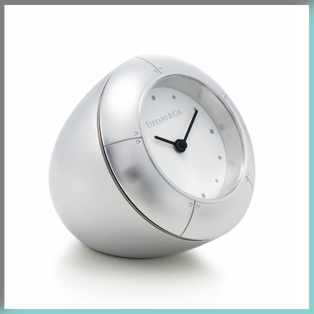 Desk Clock Rhodium Plated Time Tiffany & and Co. Streamerica Sterling Silver Collection 2002 .925