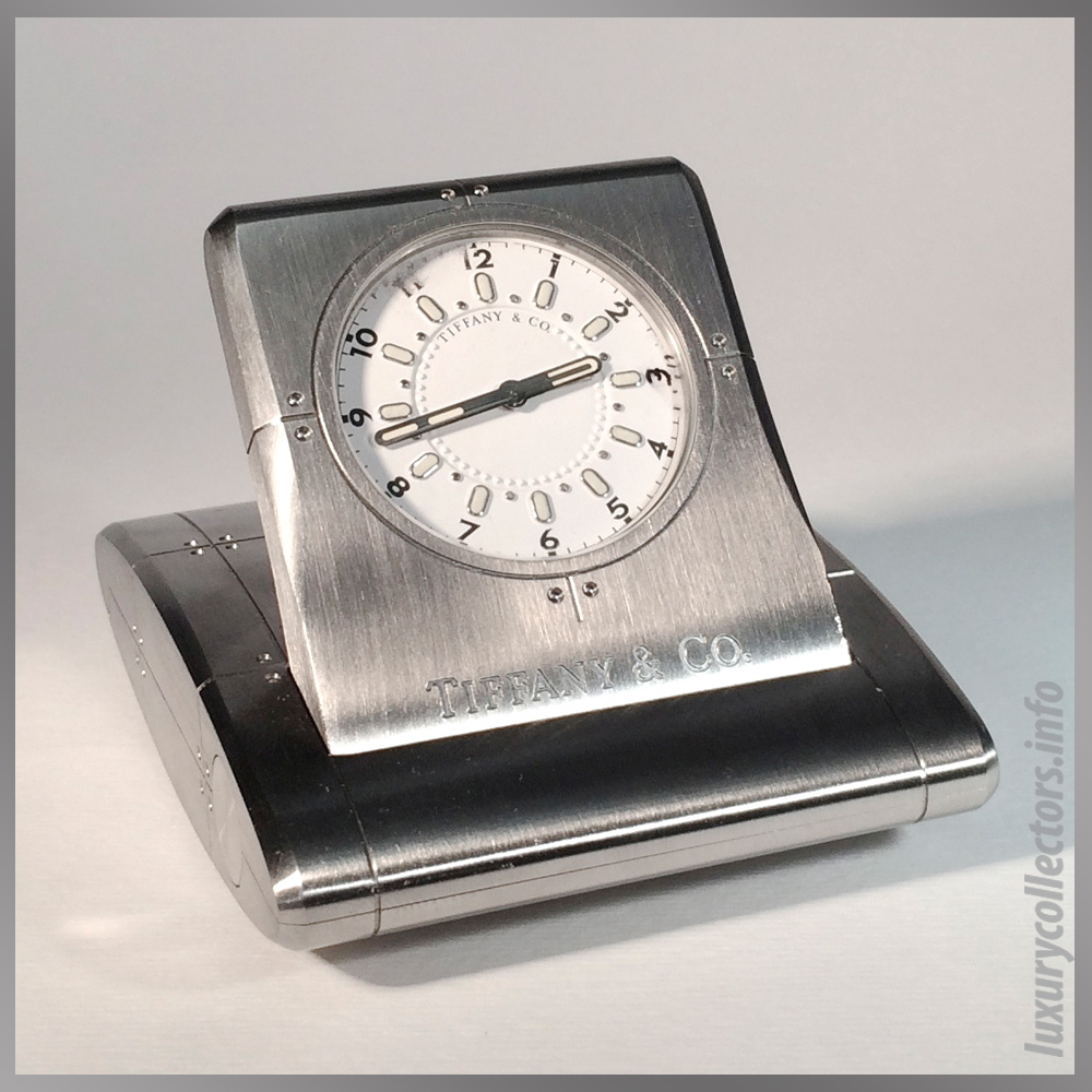 Tiffany & and Co. Streamerica Stainless Steel Metrozone Travel Alarm Clock Time Desk