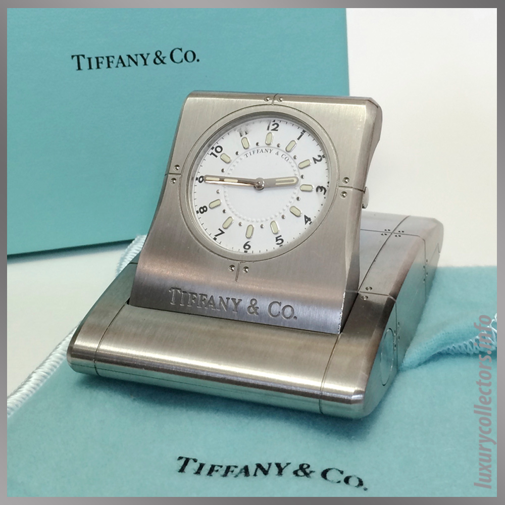 Tiffany & and Co. Streamerica Stainless Steel Metrozone Travel Alarm Clock Time Desk Open Box